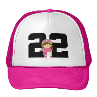 Softball Player Uniform Number 22 (Girls) Gift Cap