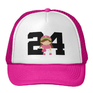 Softball Player Uniform Number 24 (Girls) Gift Cap