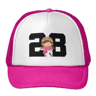 Softball Player Uniform Number 28 (Girls) Gift Hats