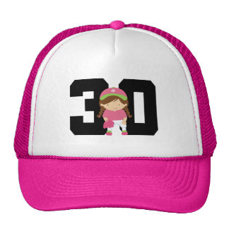 Softball Player Uniform Number 30 (Girls) Gift Mesh Hat