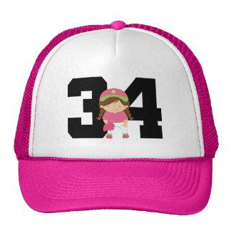 Softball Player Uniform Number 34 (Girls) Gift Cap