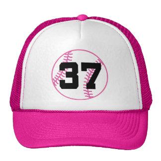 Softball Player Uniform Number 37 Gift Trucker Hats