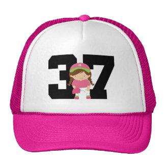 Softball Player Uniform Number 37 (Girls) Gift Cap