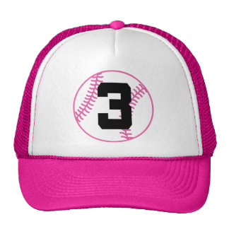 Softball Player Uniform Number 3 Gift Hats