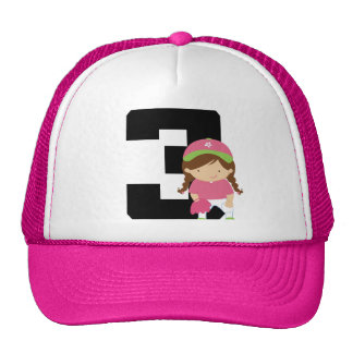 Softball Player Uniform Number 3 (Girls) Gift Trucker Hat