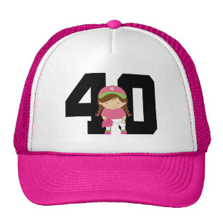 Softball Player Uniform Number 40 Girls Gift Mesh Hats
