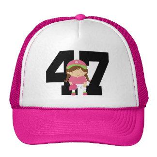 Softball Player Uniform Number 47 (Girls) Gift Trucker Hat