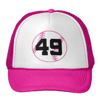 Softball Player Uniform Number 49 Gift Trucker Hats
