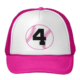 Softball Player Uniform Number 4 Gift Hats