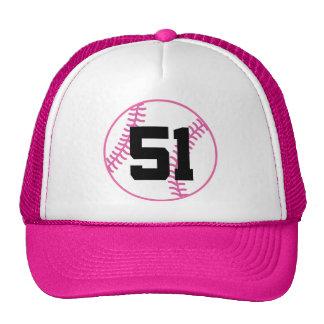 Softball Player Uniform Number 51 Gift Mesh Hats
