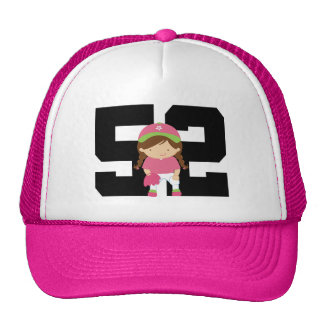 Softball Player Uniform Number 52 (Girls) Gift Hats