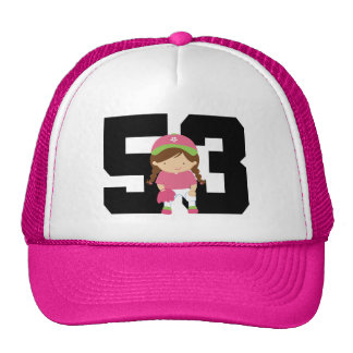 Softball Player Uniform Number 53 (Girls) Gift Mesh Hat