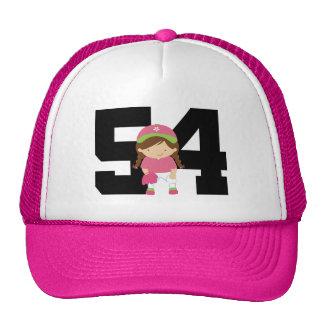Softball Player Uniform Number 54 (Girls) Gift Mesh Hat