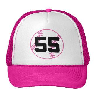 Softball Player Uniform Number 55 Gift Mesh Hats