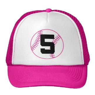 Softball Player Uniform Number 5 Gift Trucker Hats