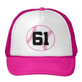 Softball Player Uniform Number 61 Gift Trucker Hats