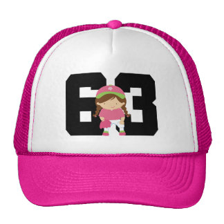 Softball Player Uniform Number 63 (Girls) Gift Trucker Hats