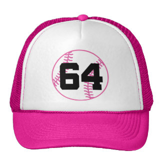 Softball Player Uniform Number 64 Gift Hats