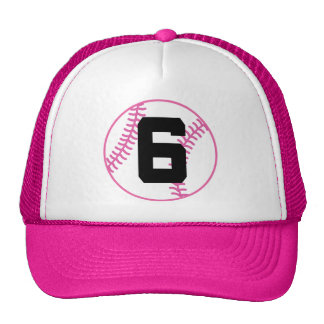 Softball Player Uniform Number 6 Gift Trucker Hats