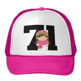 Softball Player Uniform Number 71 (Girls) Gift Cap