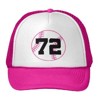 Softball Player Uniform Number 72 Gift Trucker Hats