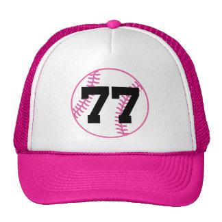 Softball Player Uniform Number 77 Gift Trucker Hat