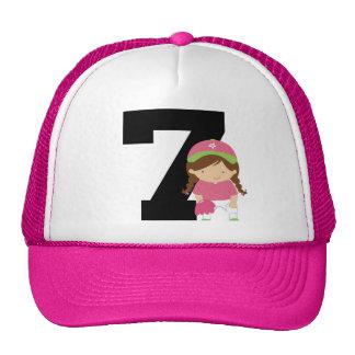 Softball Player Uniform Number 7 (Girls) Gift Trucker Hat