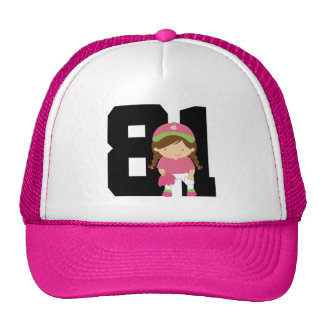 Softball Player Uniform Number 81 (Girls) Gift Mesh Hat