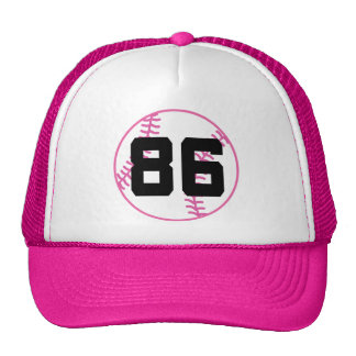 Softball Player Uniform Number 86 Gift Trucker Hats