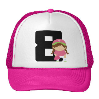 Softball Player Uniform Number 8 (Girls) Gift Mesh Hat