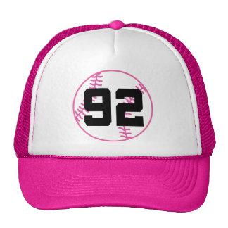 Softball Player Uniform Number 92 Gift Mesh Hats