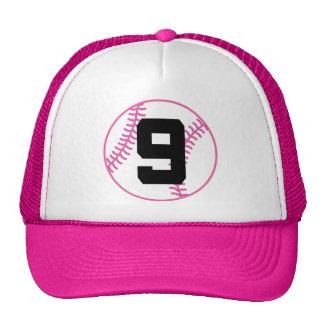 Softball Player Uniform Number 9 Gift Trucker Hat