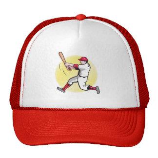 softball player with bat batting trucker hat