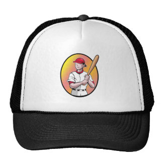 softball player with bat mesh hat