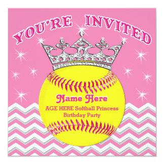 Softball Princess Softball Birthday Invitations