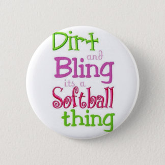 softball quote white cute and cool 6 cm round badge