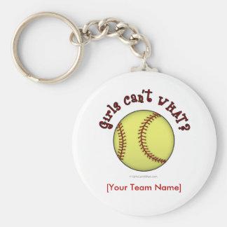 Softball-Red Basic Round Button Key Ring