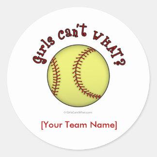 Softball-Red Classic Round Sticker