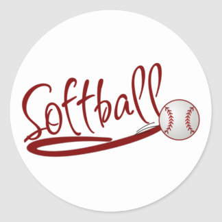 Softball Round Sticker