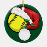 Softball Santa Cap with Green Ornament