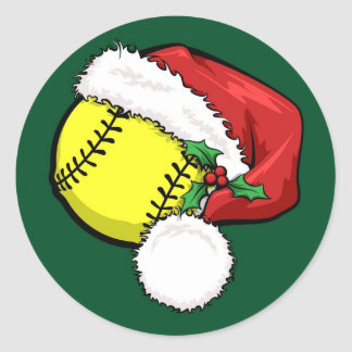 Softball Santa Cap with Green Stickers