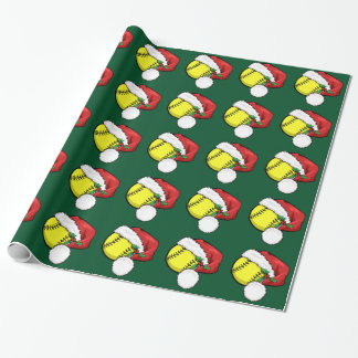 Softball Santa Cap with Green Wrapping Paper
