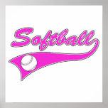 softball script text logo pink