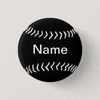 Softball Silhouette Button Black