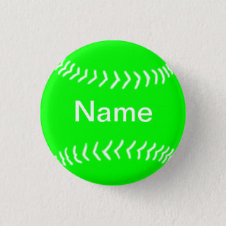 Softball Silhouette Button Green