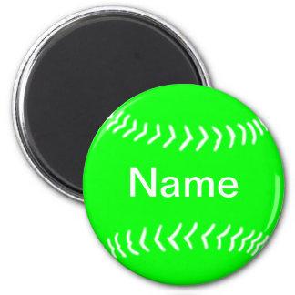 Softball Silhouette Magnet Green