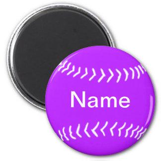 Softball Silhouette Magnet Purple