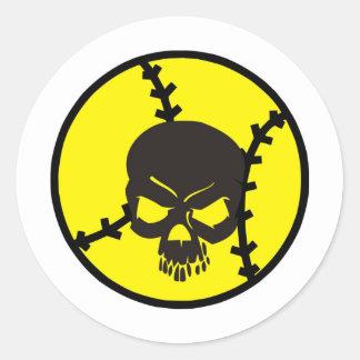 softball Skull Classic Round Sticker