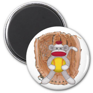 Softball Sock Monkey 6 Cm Round Magnet