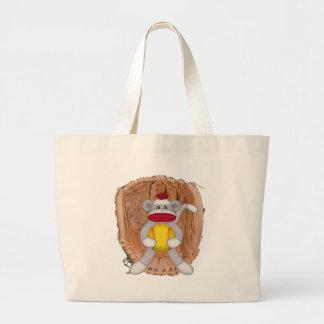 Softball Sock Monkey Large Tote Bag